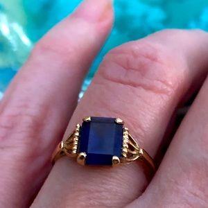 Vintage Bristol 10K Gold and Blue Ring